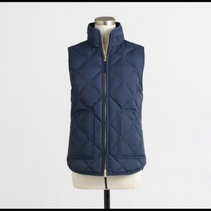 J. Crew Navy Blue Feather Puffed Vest XS